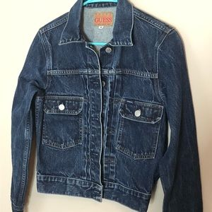 Guess denim cropped jacket, medium